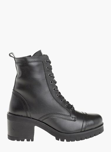 Divarese Kalın Topuklu Bağcıklı Bot Siyah